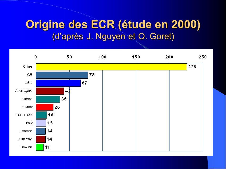 Evolution du nombre des ECR (daprès J. Nguyen et O. Goret)