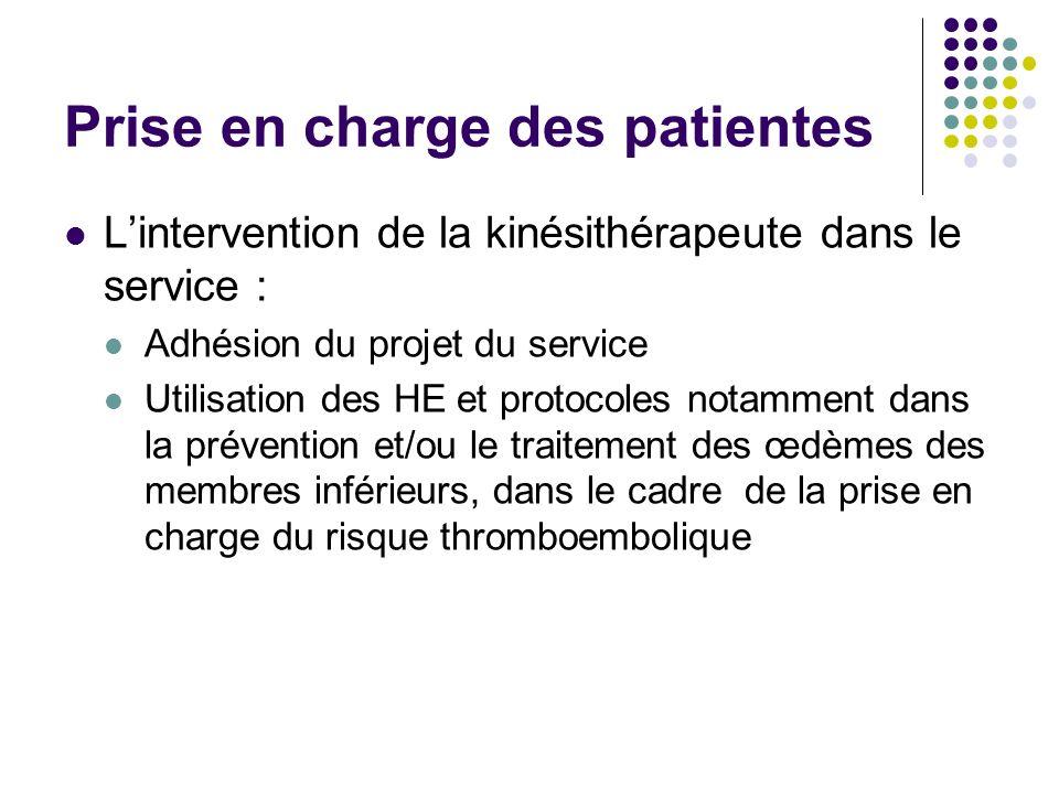 Prise en charge des patientes Lintervention de la kinésithérapeute dans le service : Adhésion du projet du service Utilisation des HE et protocoles no