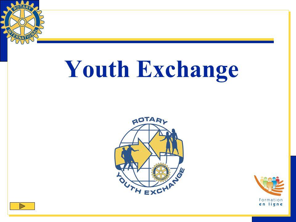 Le Youth Exchange Le Youth Exchange est un des 9 programmes officiels du Rotary International visant à aider les clubs et districts à atteindre leurs objectifs daction dans leur région comme à létranger, tout en développant la camaraderie et la bonne volonté.