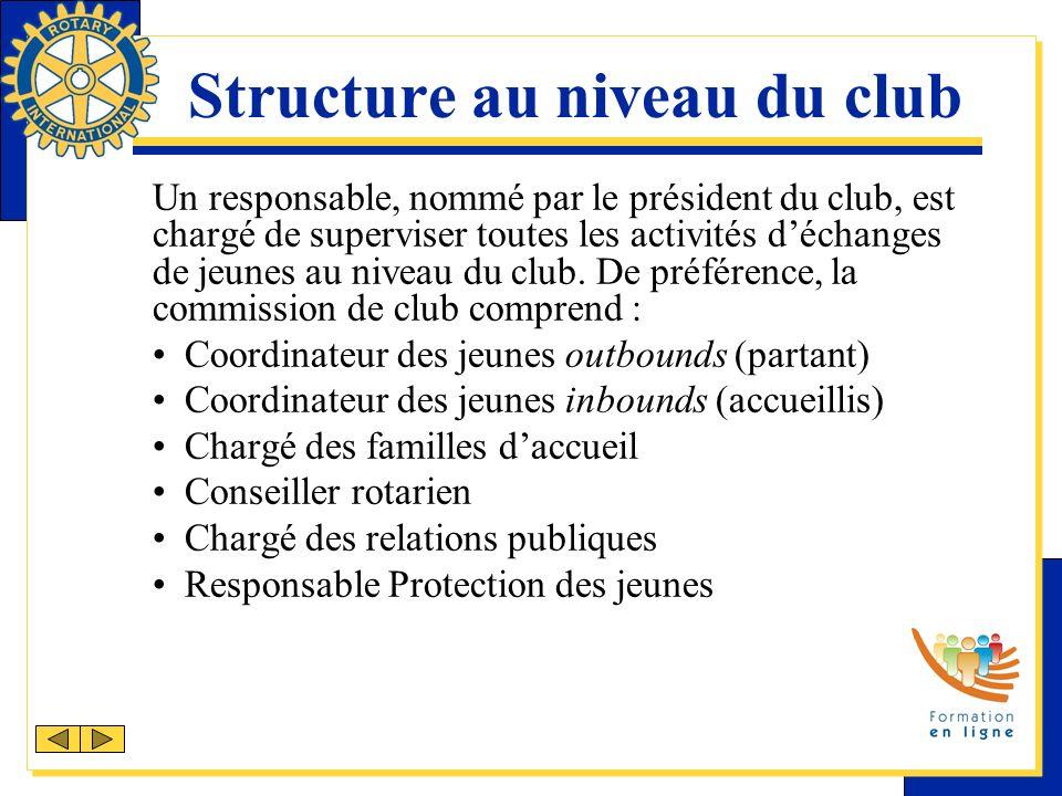 Structure au niveau du club Un responsable, nommé par le président du club, est chargé de superviser toutes les activités déchanges de jeunes au niveau du club.