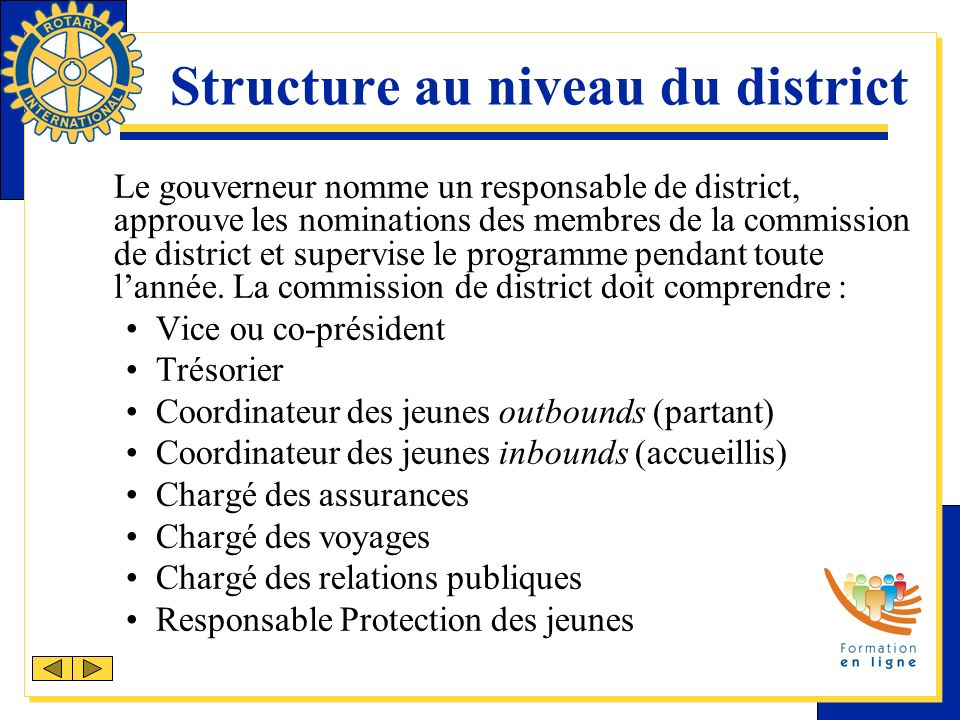 Structure au niveau du district Le gouverneur nomme un responsable de district, approuve les nominations des membres de la commission de district et s