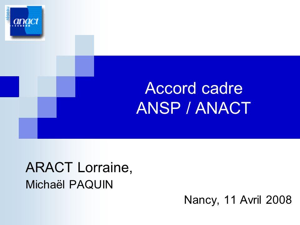 Accord cadre ANSP/ANACT2 Laccord cadre Mise au point dune méthodologie dintervention pour un appui aux structures agréées des SAP permettant notamment de traiter des questions dorganisation du travail et de conditions de travail Formation des intervenants et consultants habilités par lANSP Animation par lANACT et les ARACTS qui le souhaitent du dispositif dintervention Des objectifs importants quant au nombre de structures accompagnées : de lordre de 300 structures accompagnées entre fin 2007 et fin 2009 Capitalisation et transfert des résultats Accord cadre ANSP / ANACT