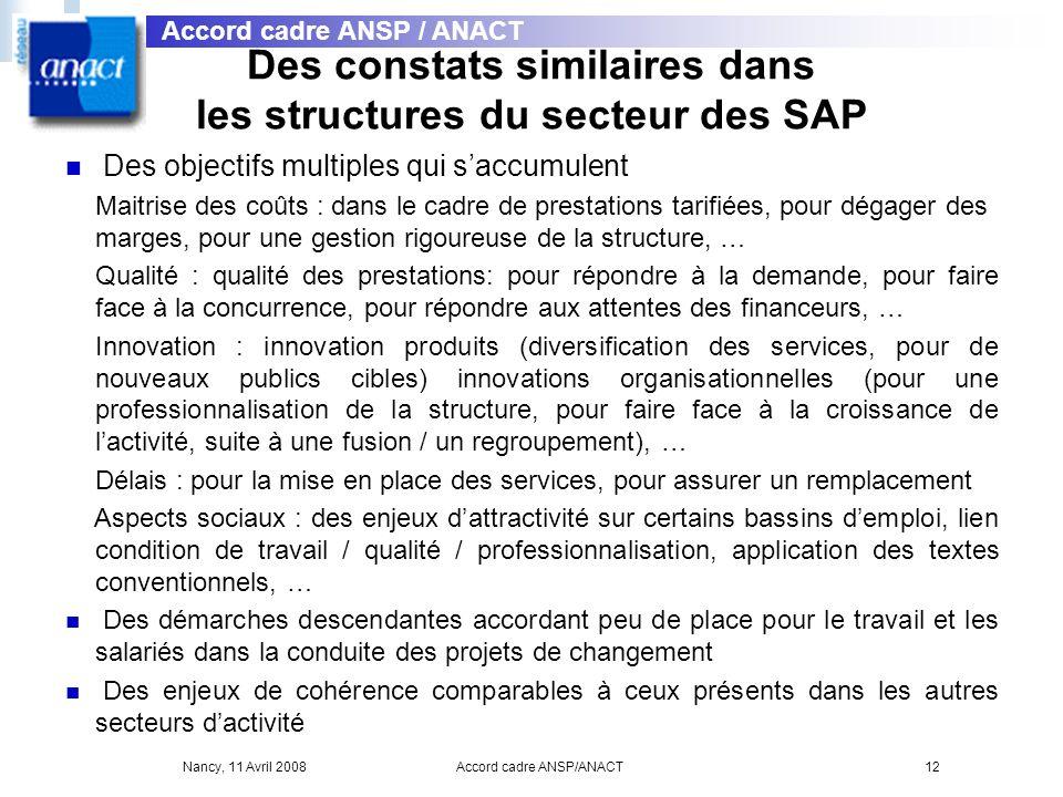 Nancy, 11 Avril 2008Accord cadre ANSP/ANACT12 Des constats similaires dans les structures du secteur des SAP Des objectifs multiples qui saccumulent M