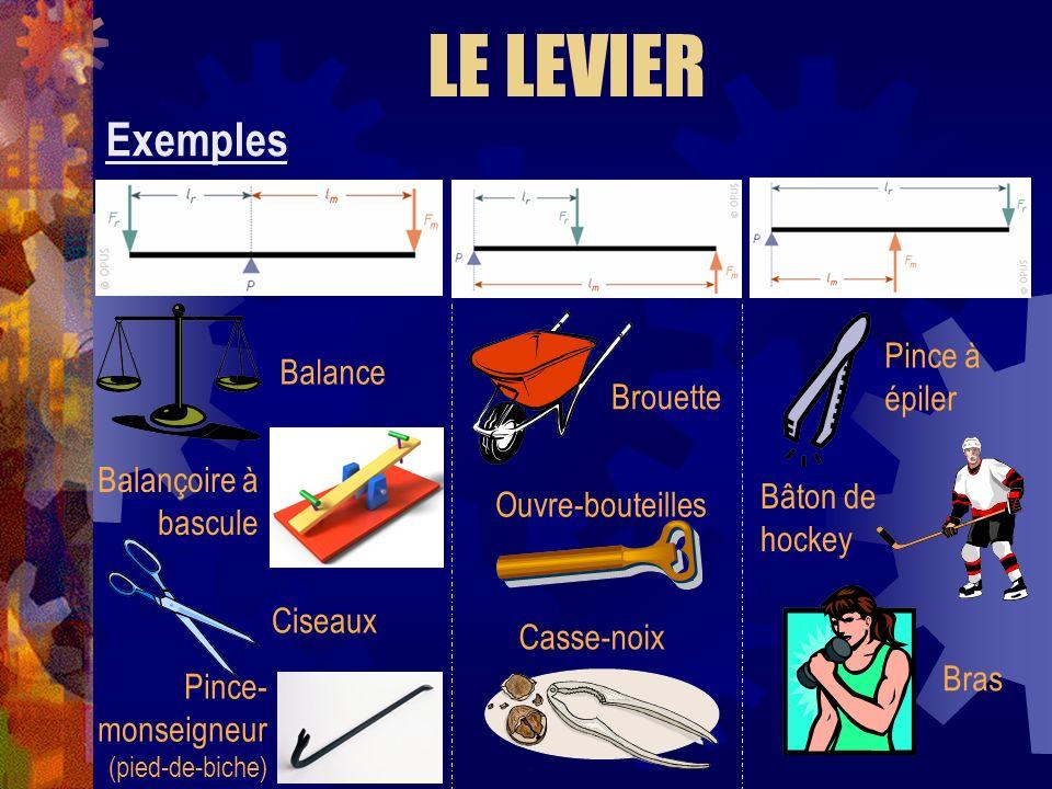 Exemples LE LEVIER Balance Balançoire à bascule Ciseaux Pince- monseigneur (pied-de-biche) Brouette Casse-noix Ouvre-bouteilles Pince à épiler Bâton d