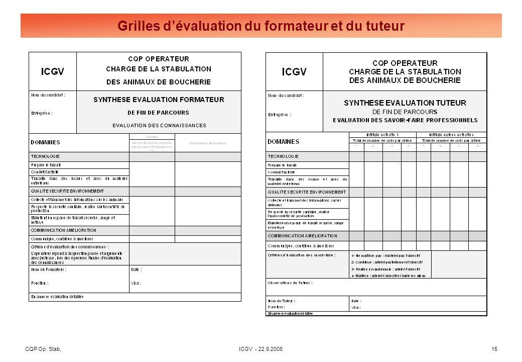 CQP Op. Stab. ICGV - 22.9.2006 15 Grilles dévaluation du formateur et du tuteur