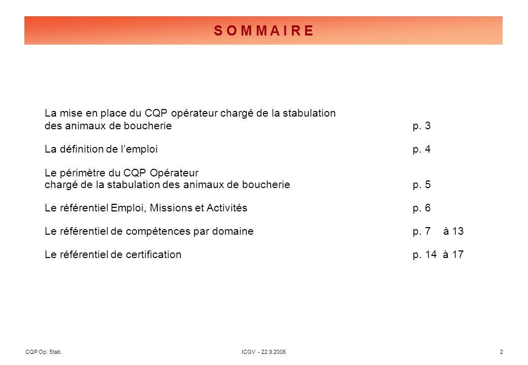 CQP Op. Stab. ICGV - 22.9.2006 2 La mise en place du CQP opérateur chargé de la stabulation des animaux de boucheriep. 3 La définition de lemploi p. 4
