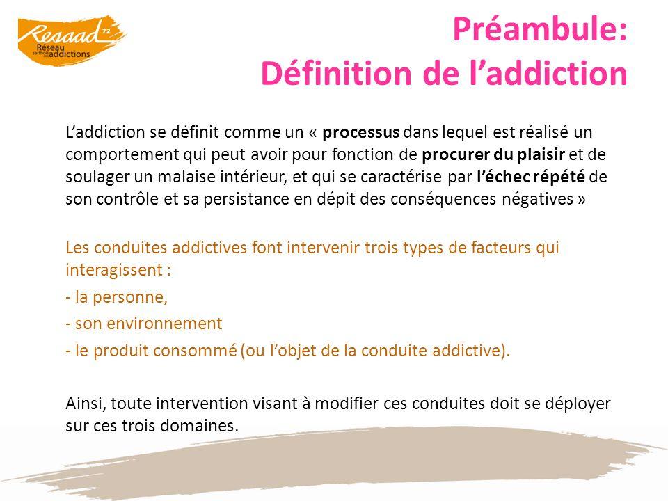 Préambule: Définition de laddiction Laddiction se définit comme un « processus dans lequel est réalisé un comportement qui peut avoir pour fonction de