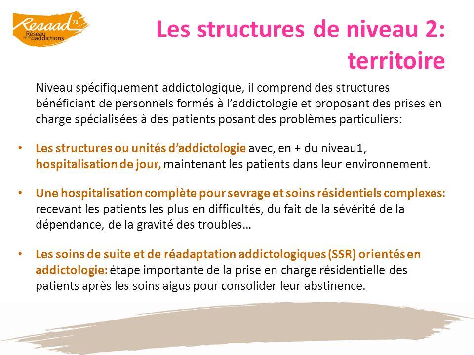 Les structures de niveau 2: territoire Niveau spécifiquement addictologique, il comprend des structures bénéficiant de personnels formés à laddictolog