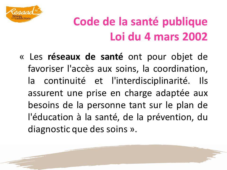 Code de la santé publique Loi du 4 mars 2002 « Les réseaux de santé ont pour objet de favoriser l'accès aux soins, la coordination, la continuité et l