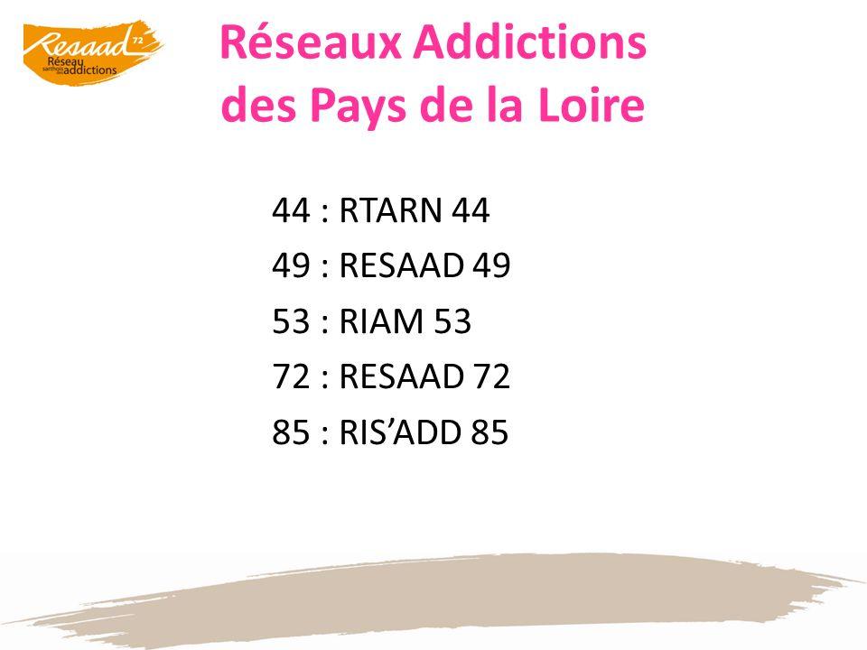 Réseaux Addictions des Pays de la Loire 44 : RTARN 44 49 : RESAAD 49 53 : RIAM 53 72 : RESAAD 72 85 : RISADD 85