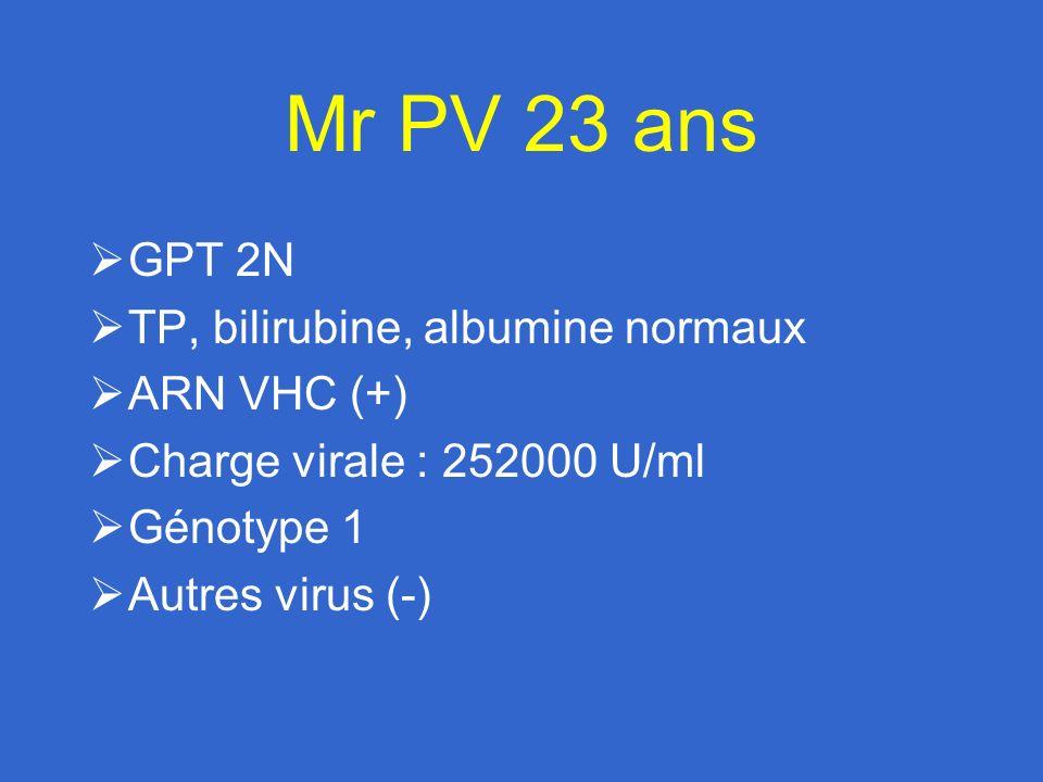 Mr PV 23 ans Ex toxicomane / Méthadone (10 mg/j) Ac anti-VHC (+) GPT 2N ARN VHC (+) Génotype 1 Alcool / tabac / joints Pas dexcès pondéral / pas dautre virus