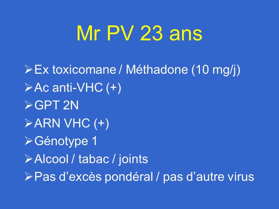 Réponse au traitement Facteurs principaux : Génotype Degré de fibrose Charge virale Facteurs secondaires : Poids Stéatose Surcharge en fer Âge