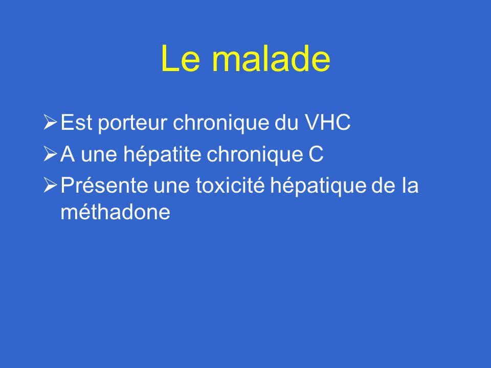 Le malade Est porteur chronique du VHC A une hépatite chronique C Présente une toxicité hépatique de la méthadone