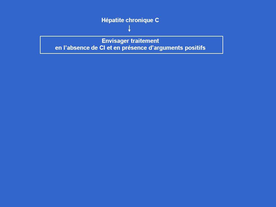 Hépatite chronique C Envisager traitement en labsence de CI et en présence darguments positifs