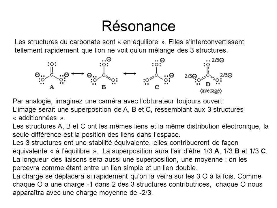 Résonance Les structures du carbonate sont « en équilibre ».