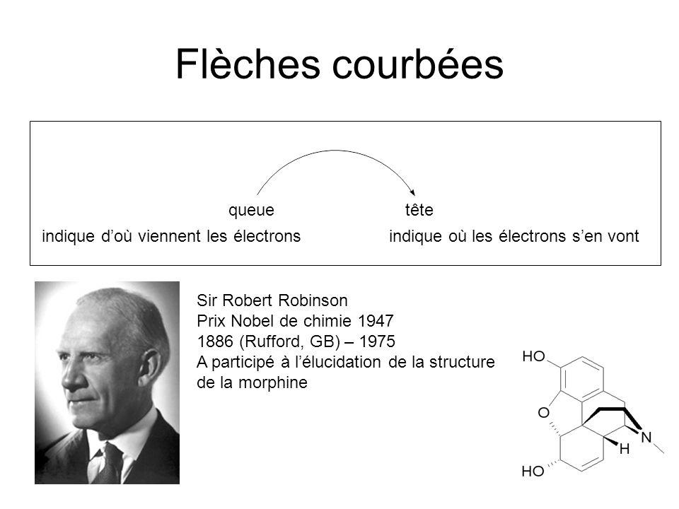 Flèches courbées queuetête indique doù viennent les électronsindique où les électrons sen vont Sir Robert Robinson Prix Nobel de chimie 1947 1886 (Rufford, GB) – 1975 A participé à lélucidation de la structure de la morphine