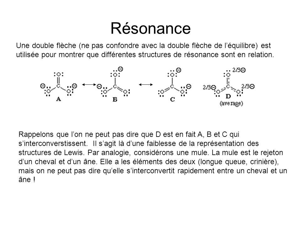 Résonance Une double flèche (ne pas confondre avec la double flèche de léquilibre) est utilisée pour montrer que différentes structures de résonance sont en relation.