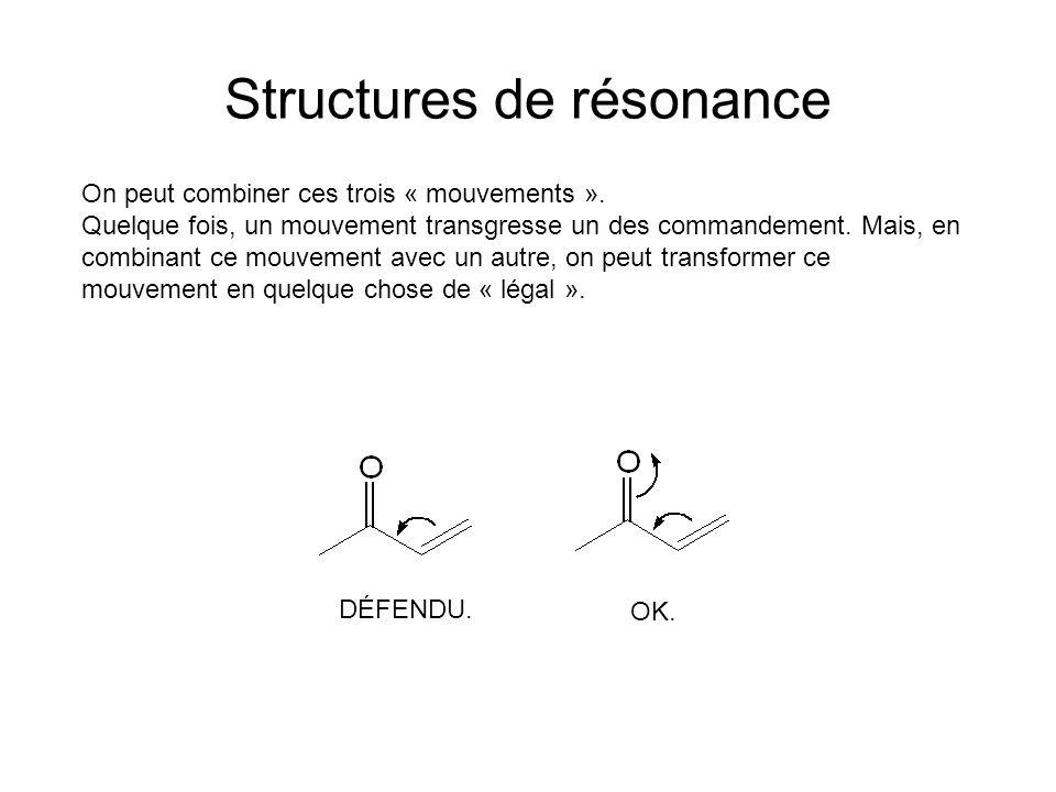 Structures de résonance On peut combiner ces trois « mouvements ».