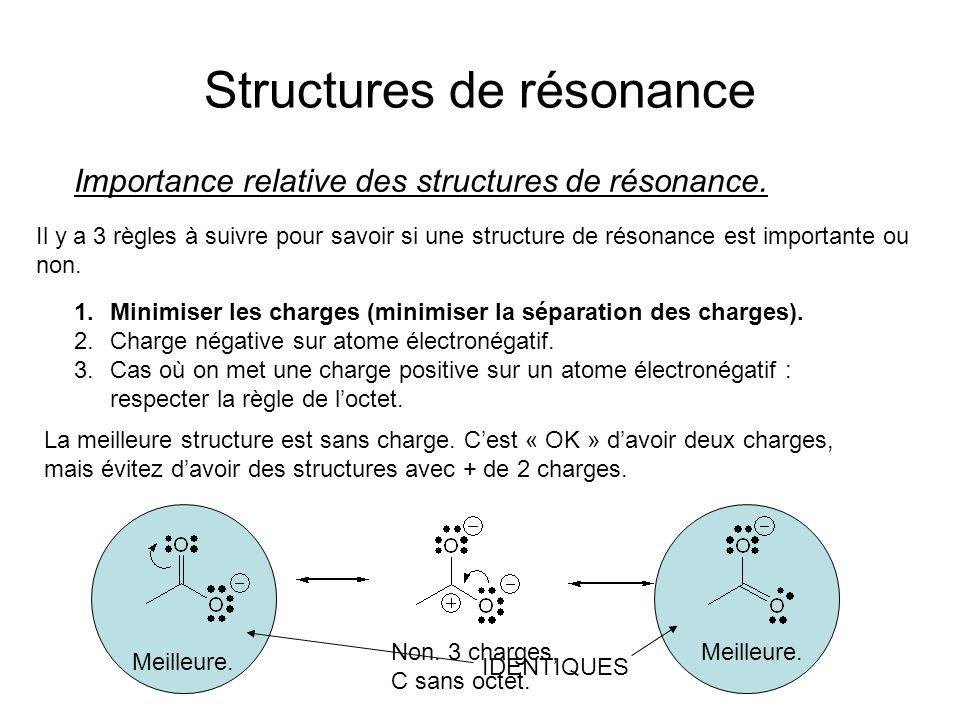 Structures de résonance Importance relative des structures de résonance.