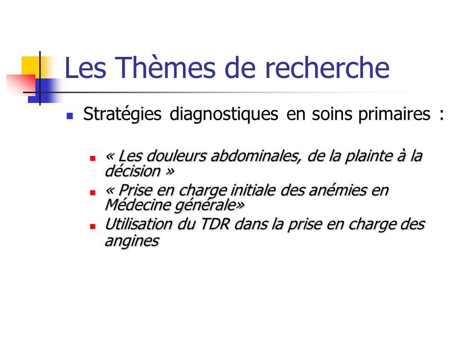 Les Thèmes de recherche Stratégies diagnostiques en soins primaires : « Les douleurs abdominales, de la plainte à la décision » « Les douleurs abdominales, de la plainte à la décision » « Prise en charge initiale des anémies en Médecine générale» « Prise en charge initiale des anémies en Médecine générale» Utilisation du TDR dans la prise en charge des angines Utilisation du TDR dans la prise en charge des angines