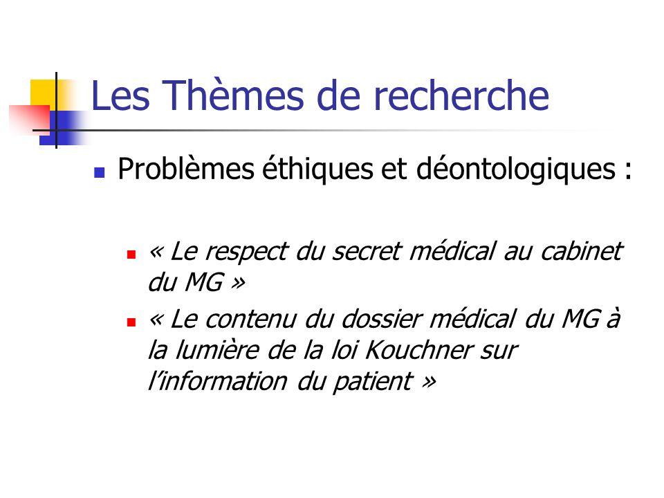Les Thèmes de recherche Problèmes éthiques et déontologiques : « Le respect du secret médical au cabinet du MG » « Le contenu du dossier médical du MG à la lumière de la loi Kouchner sur linformation du patient »