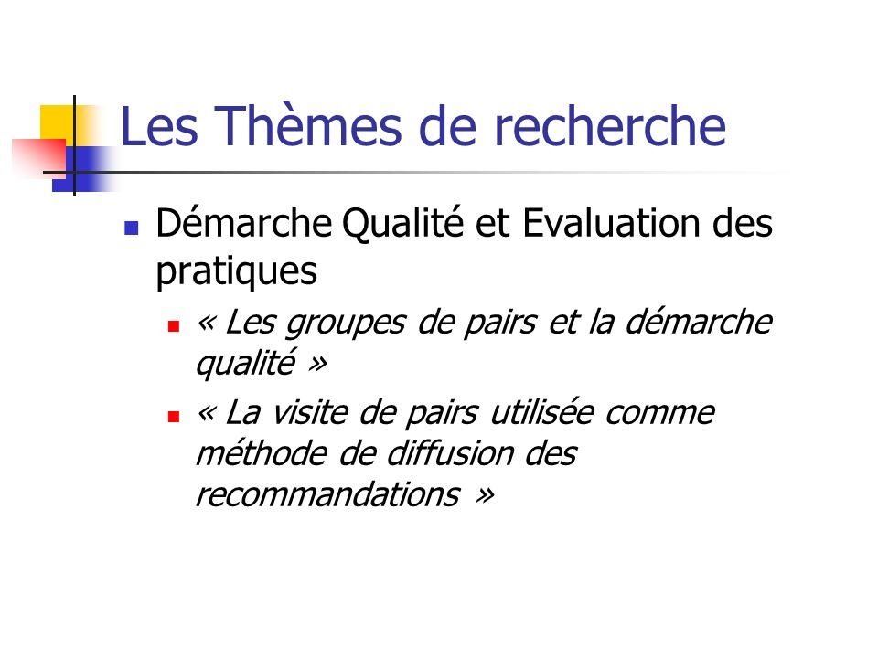 Les Thèmes de recherche Démarche Qualité et Evaluation des pratiques « Les groupes de pairs et la démarche qualité » « La visite de pairs utilisée comme méthode de diffusion des recommandations »