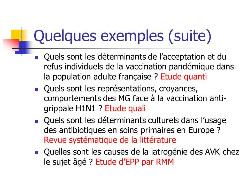 Quelques exemples (suite) Quels sont les déterminants de lacceptation et du refus individuels de la vaccination pandémique dans la population adulte française .