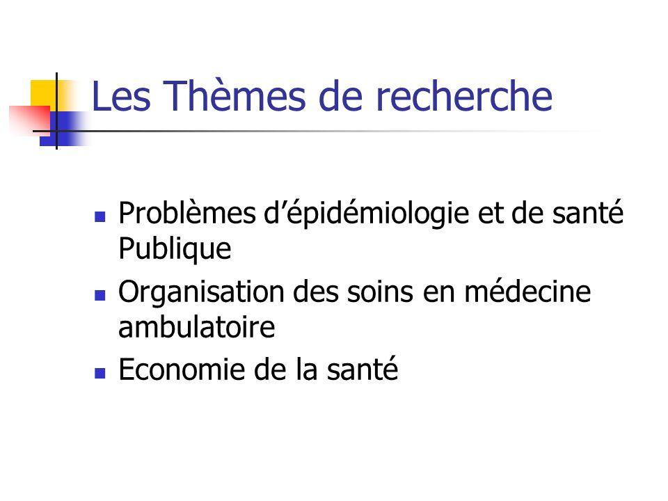 Les Thèmes de recherche Problèmes dépidémiologie et de santé Publique Organisation des soins en médecine ambulatoire Economie de la santé