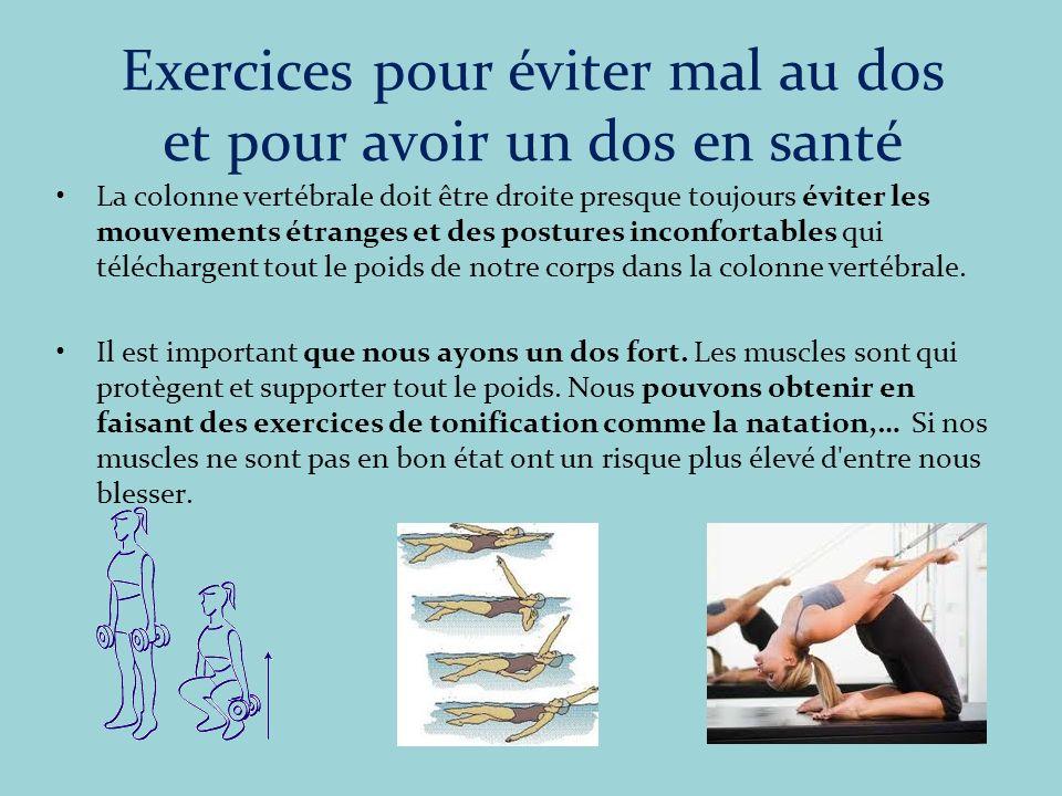 Exercices pour éviter mal au dos et pour avoir un dos en santé La colonne vertébrale doit être droite presque toujours éviter les mouvements étranges