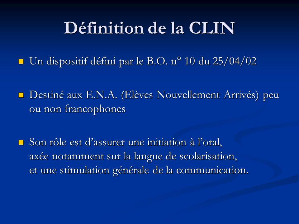 Définition de la CLIN Un dispositif défini par le B.O.