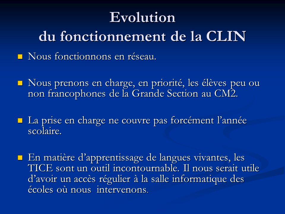Evolution du fonctionnement de la CLIN Nous fonctionnons en réseau.