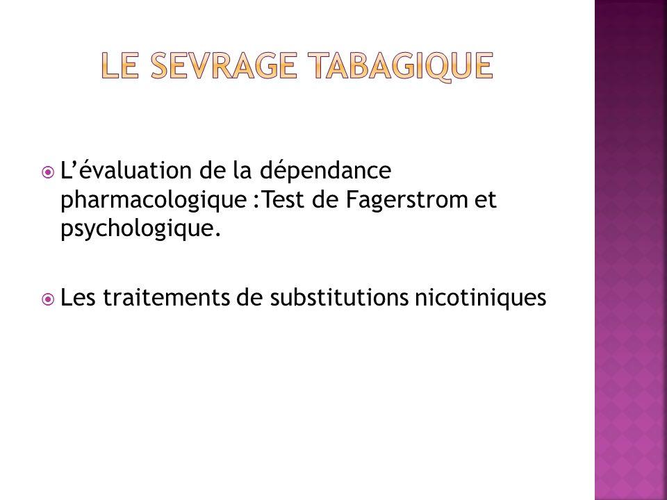 Lévaluation de la dépendance pharmacologique :Test de Fagerstrom et psychologique. Les traitements de substitutions nicotiniques