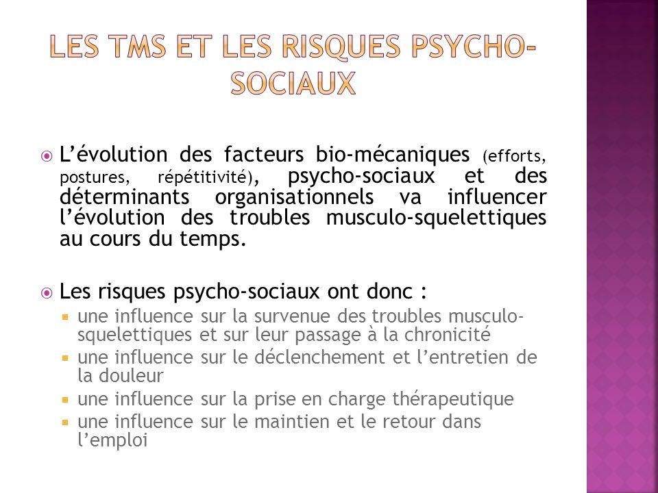 Lévolution des facteurs bio-mécaniques (efforts, postures, répétitivité), psycho-sociaux et des déterminants organisationnels va influencer lévolution