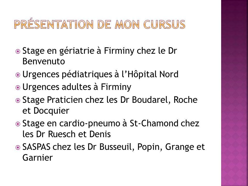 Stage en gériatrie à Firminy chez le Dr Benvenuto Urgences pédiatriques à lHôpital Nord Urgences adultes à Firminy Stage Praticien chez les Dr Boudare