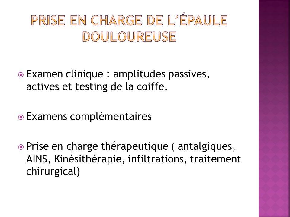Examen clinique : amplitudes passives, actives et testing de la coiffe. Examens complémentaires Prise en charge thérapeutique ( antalgiques, AINS, Kin