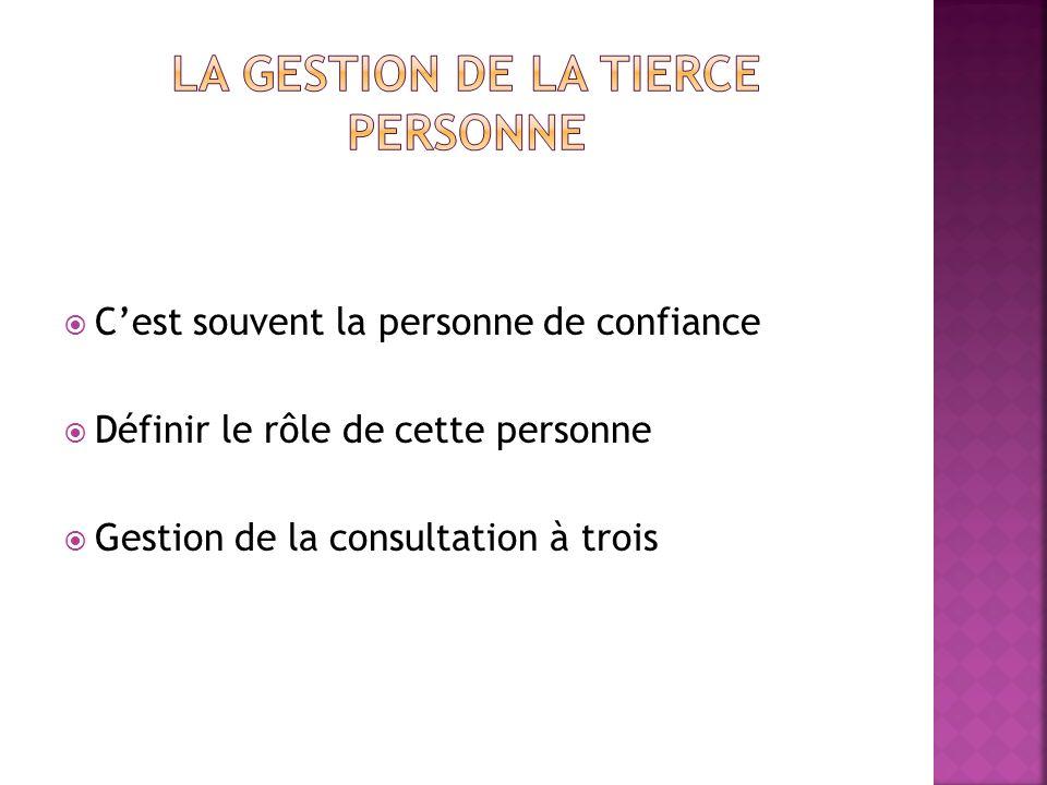 Cest souvent la personne de confiance Définir le rôle de cette personne Gestion de la consultation à trois