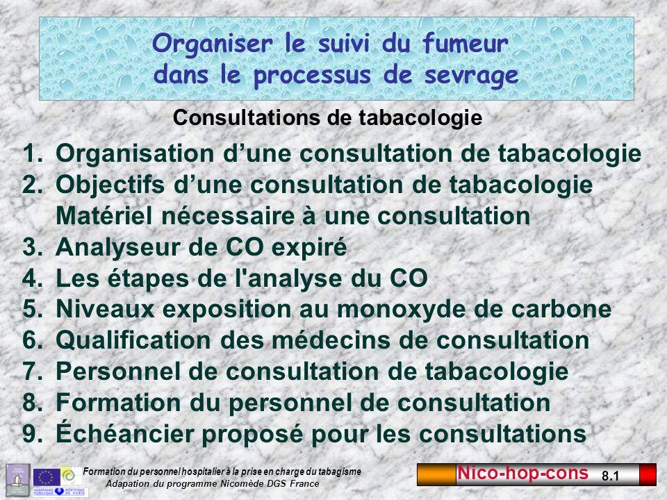 Nico-hop-cons 8.1 Formation du personnel hospitalier à la prise en charge du tabagisme Adapation du programme Nicomède DGS France Consultations de tab