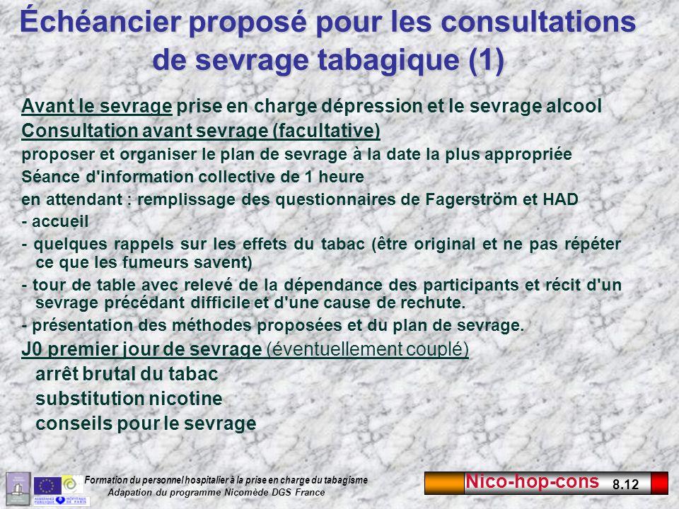 Nico-hop-cons 8.12 Formation du personnel hospitalier à la prise en charge du tabagisme Adapation du programme Nicomède DGS France Avant le sevrage pr
