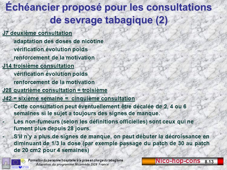 Nico-hop-cons 8.13 Formation du personnel hospitalier à la prise en charge du tabagisme Adapation du programme Nicomède DGS France J7 deuxième consult