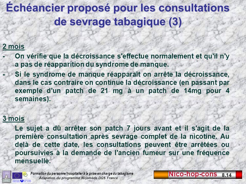 Nico-hop-cons 8.14 Formation du personnel hospitalier à la prise en charge du tabagisme Adapation du programme Nicomède DGS France 2 mois -On vérifie