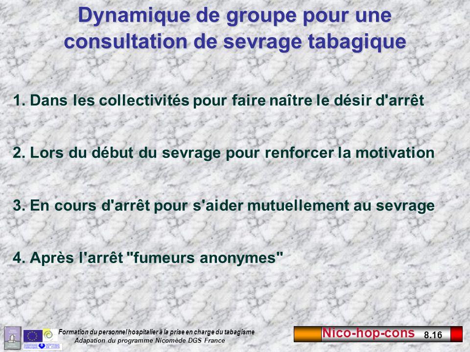 Nico-hop-cons 8.16 Formation du personnel hospitalier à la prise en charge du tabagisme Adapation du programme Nicomède DGS France 1. Dans les collect