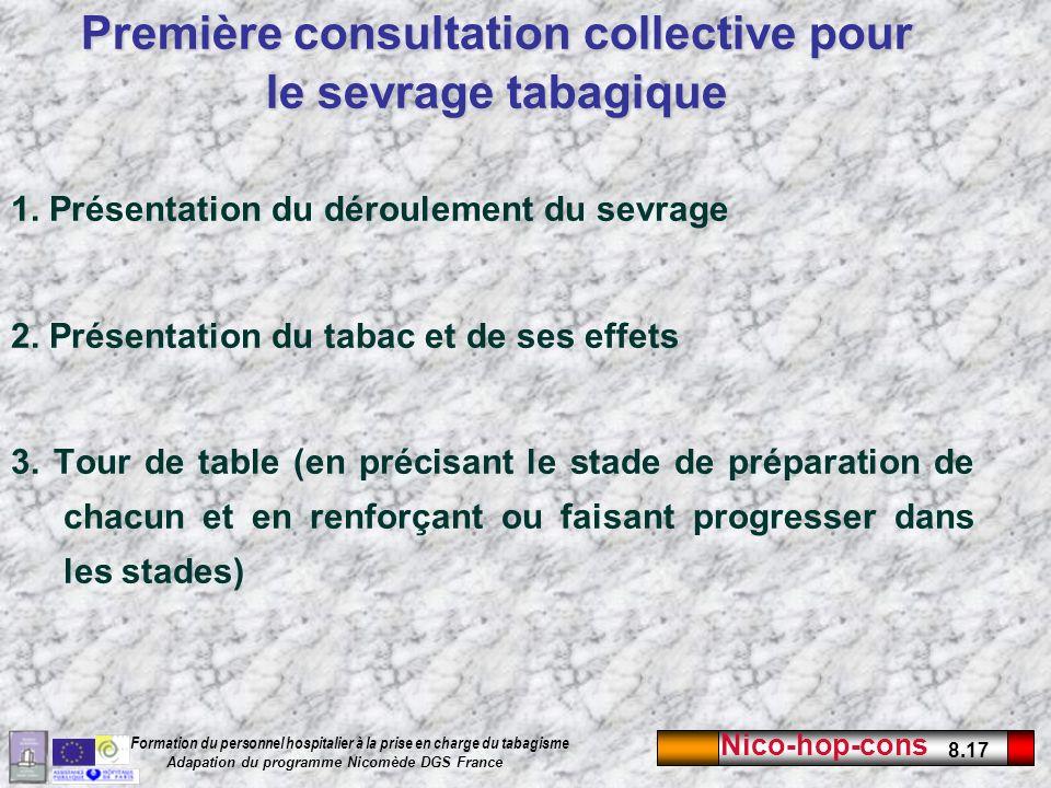 Nico-hop-cons 8.17 Formation du personnel hospitalier à la prise en charge du tabagisme Adapation du programme Nicomède DGS France 1. Présentation du