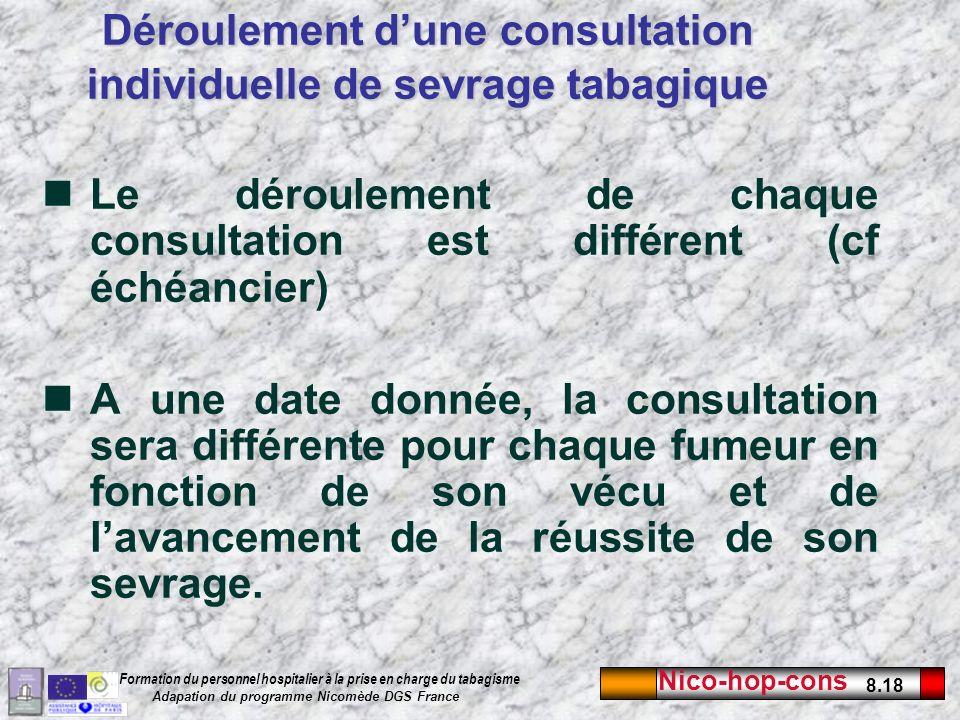 Nico-hop-cons 8.18 Formation du personnel hospitalier à la prise en charge du tabagisme Adapation du programme Nicomède DGS France Le déroulement de c
