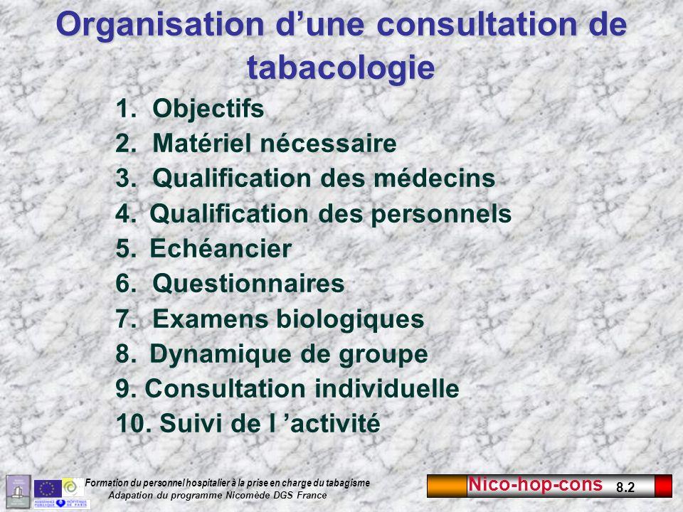 Nico-hop-cons 8.2 Formation du personnel hospitalier à la prise en charge du tabagisme Adapation du programme Nicomède DGS France 1. Objectifs 2. Maté