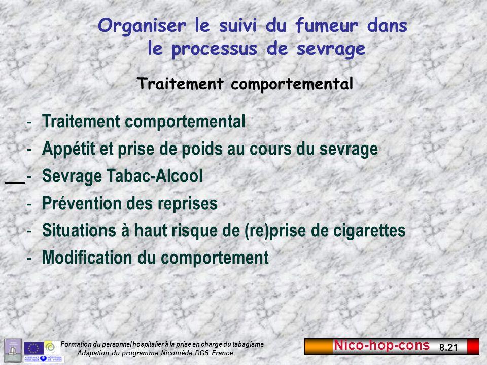 Nico-hop-cons 8.21 Formation du personnel hospitalier à la prise en charge du tabagisme Adapation du programme Nicomède DGS France Organiser le suivi