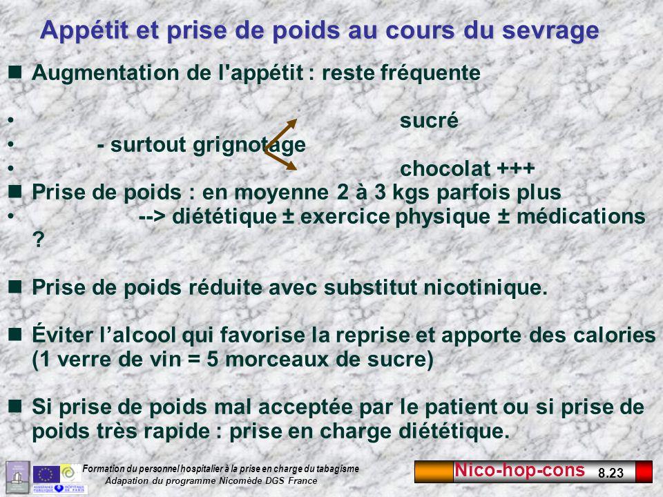 Nico-hop-cons 8.23 Formation du personnel hospitalier à la prise en charge du tabagisme Adapation du programme Nicomède DGS France Appétit et prise de