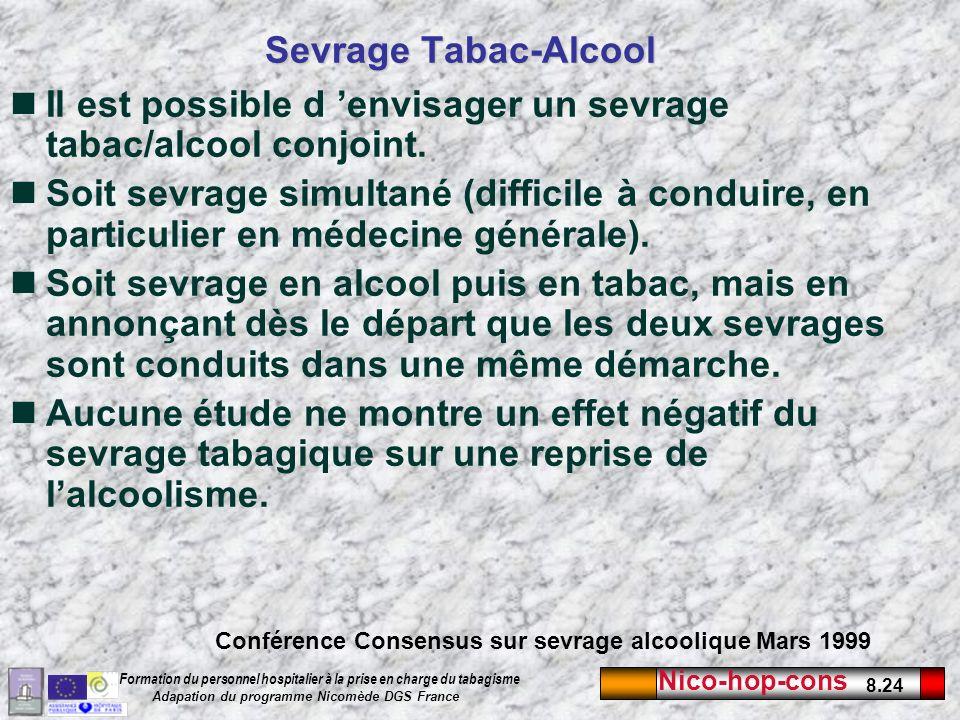 Nico-hop-cons 8.24 Formation du personnel hospitalier à la prise en charge du tabagisme Adapation du programme Nicomède DGS France Sevrage Tabac-Alcoo