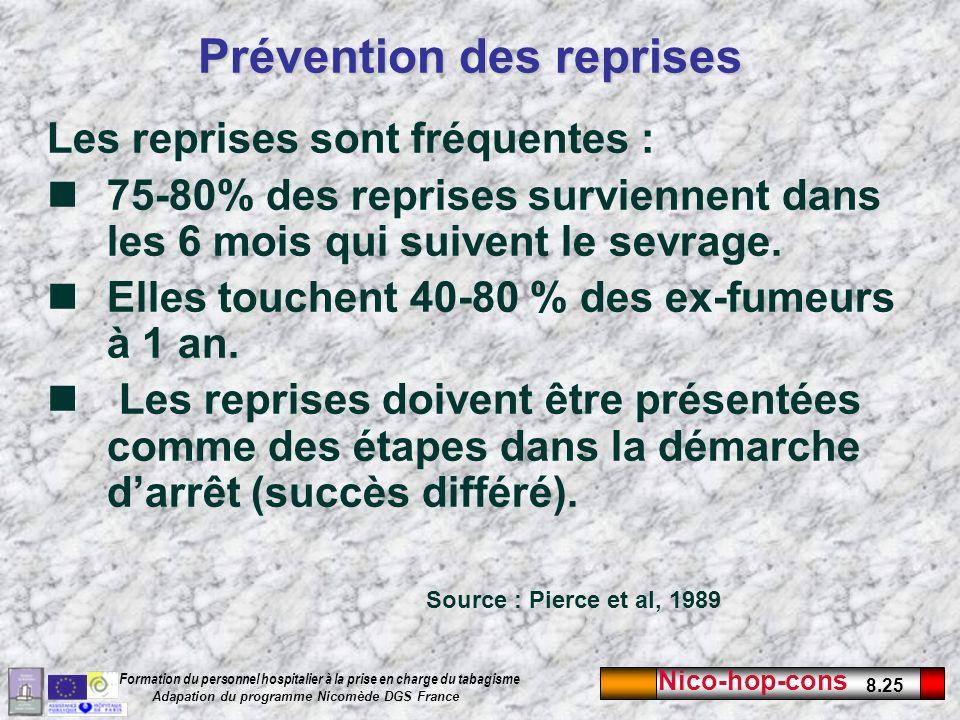 Nico-hop-cons 8.25 Formation du personnel hospitalier à la prise en charge du tabagisme Adapation du programme Nicomède DGS France Prévention des repr