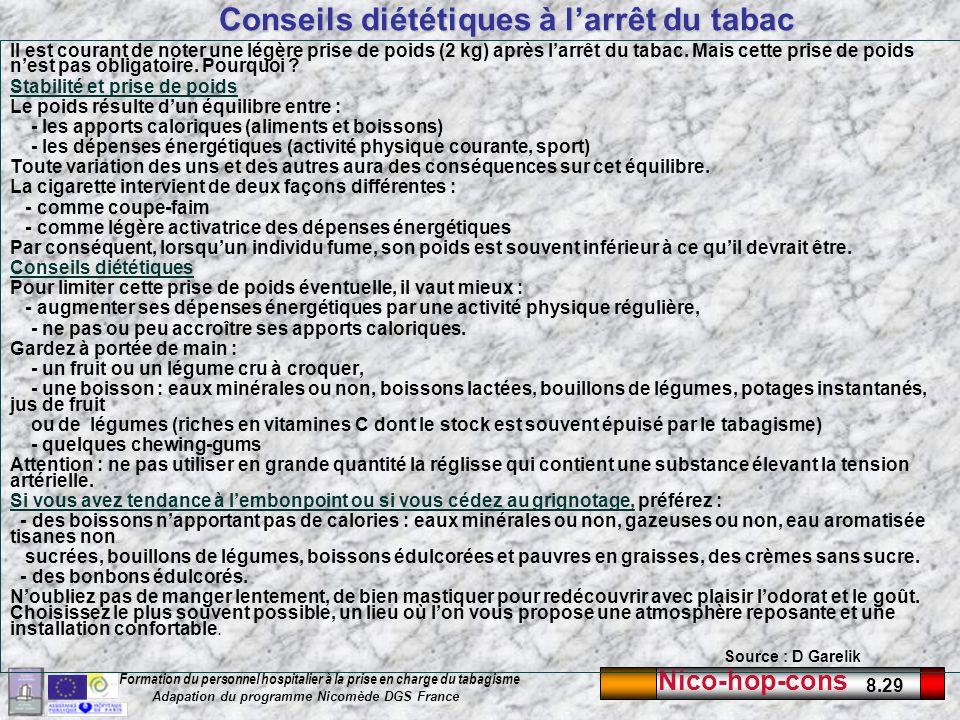 Nico-hop-cons 8.29 Formation du personnel hospitalier à la prise en charge du tabagisme Adapation du programme Nicomède DGS France Conseils diététique