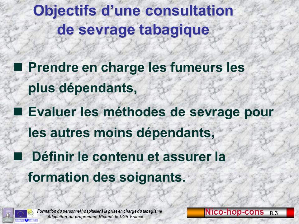 Nico-hop-cons 8.3 Formation du personnel hospitalier à la prise en charge du tabagisme Adapation du programme Nicomède DGS France Prendre en charge le